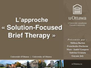 L'approche « Solution- Focused Brief Therapy  »