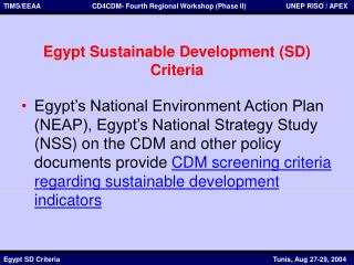 Egypt Sustainable Development (SD) Criteria