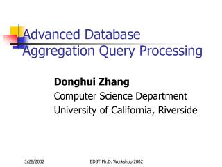 Advanced Database Aggregation Query Processing