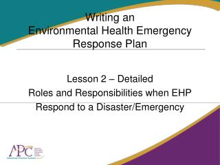 Writing an  Environmental Health Emergency Response Plan