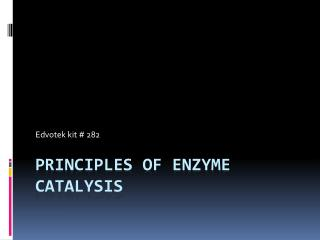 Principles of Enzyme Catalysis