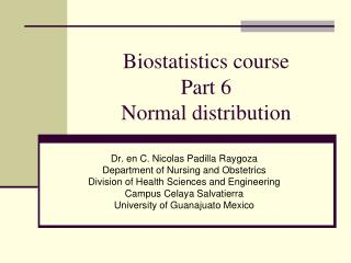 Biostatistics course Part 6 Normal distribution