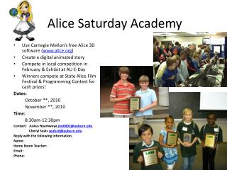Alice Saturday Academy