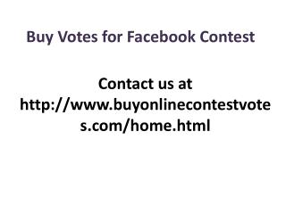 Buy Votes for Facebook Contest