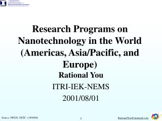 Research Programs on Nanotechnology in the World (Americas, Asia/Pacific, and Europe)
