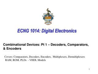 ECNG 1014: Digital Electronics