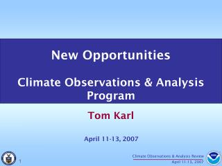 New Opportunities Climate Observations & Analysis Program