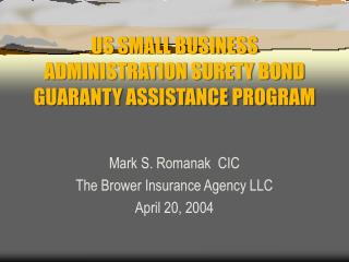 US SMALL BUSINESS ADMINISTRATION SURETY BOND GUARANTY ASSISTANCE PROGRAM