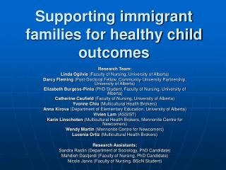 Supporting immigrant families for healthy child outcomes