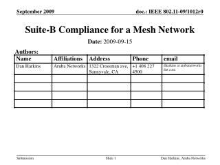Suite-B Compliance for a Mesh Network