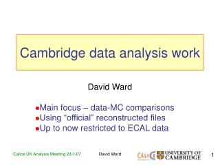 Cambridge data analysis work