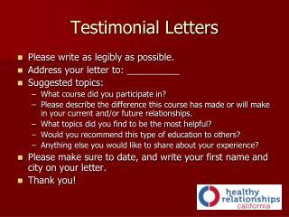 Testimonial Letters