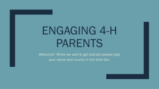 Engaging 4-H Parents