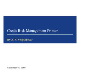 Credit Risk Management Primer