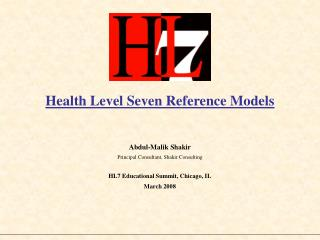Health Level Seven Reference Models