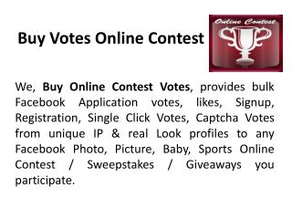 Buy Votes Online Contest