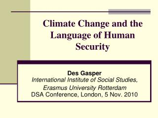 Climate Change and the Language of Human Security