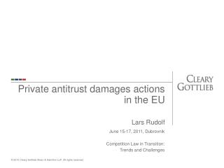 Private antitrust damages actions in the EU  Lars Rudolf