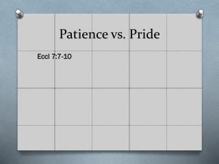 Patience vs. Pride