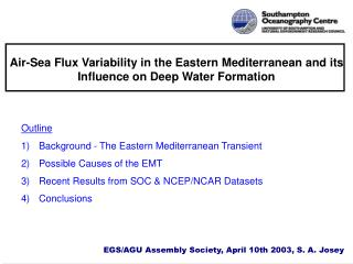 Air-Sea Flux Variability in the Eastern Mediterranean and its Influence on Deep Water Formation