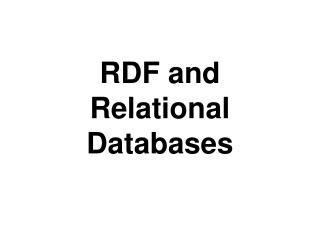 RDF and Relational Databases