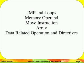JMP and Loops Memory Operand Move Instruction Array Data Related Operation and Directives