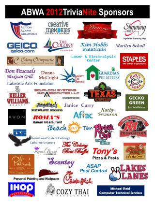 ABWA 2012 Trivia Nite Sponsors