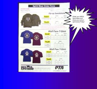 Order your ARES Spirit Wear and  show your school  spirit every Friday!
