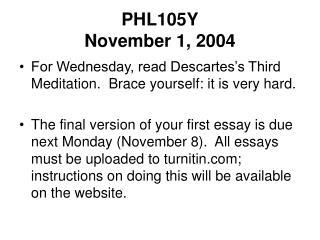 PHL105Y November 1, 2004