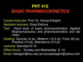 PHT 415 BASIC PHARMACOKINETICS