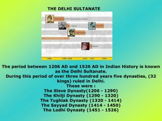 The period between 1206 AD and 1526 AD in Indian History is known as the Delhi Sultanate.
