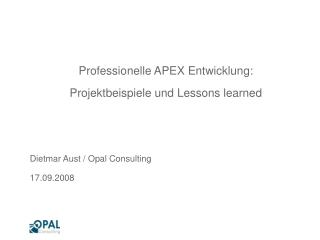 Professionelle APEX Entwicklung: Projektbeispiele und Lessons learned