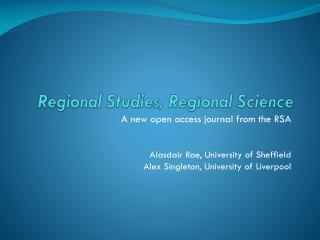 Regional Studies, Regional Science