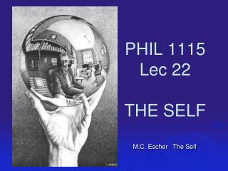 PHIL 1115 Lec 22 THE SELF