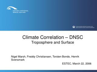Climate Correlation – DNSC Troposphere and Surface
