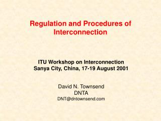 Regulation and Procedures of Interconnection
