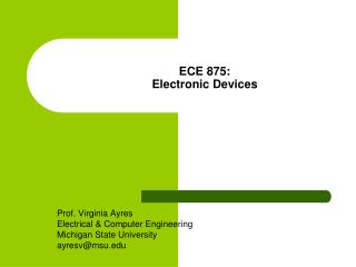 ECE 875: Electronic Devices