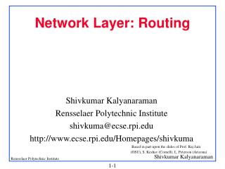 Network Layer: Routing