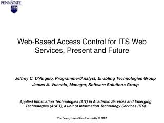 Web-Based Access Control for ITS Web Services, Present and Future