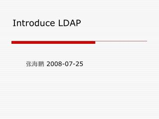 Introduce LDAP