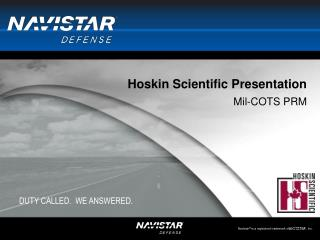 Hoskin Scientific Presentation