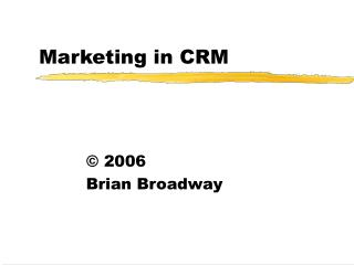 Marketing in CRM
