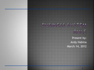 Business System Rule