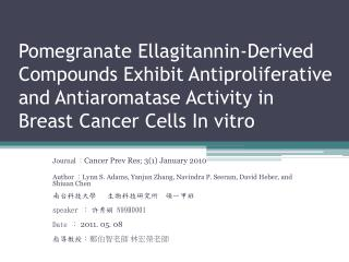 Journal  : Cancer Prev Res; 3(1) January 2010