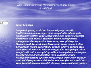 Web-Based Enterprise Management sebagai Solusi  e-Business