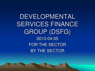 DEVELOPMENTAL SERVICES FINANCE GROUP (DSFG)