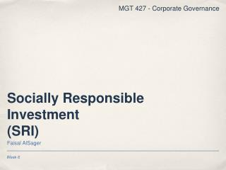 Socially Responsible Investment (SRI)