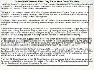 Green and Clean for Earth Day Raise Your Own Chickens