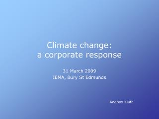 Climate change: a corporate response