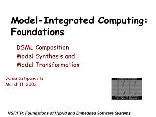 Model-Integrated Computing: Foundations